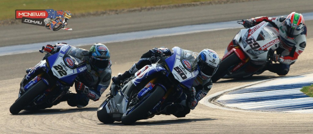 Sylvain Guintoli from Alex Lowes and Nicky Hayden