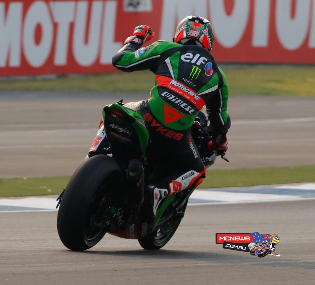 Race 2 winner Sykes (Kawasaki) celebrates his 27th career win