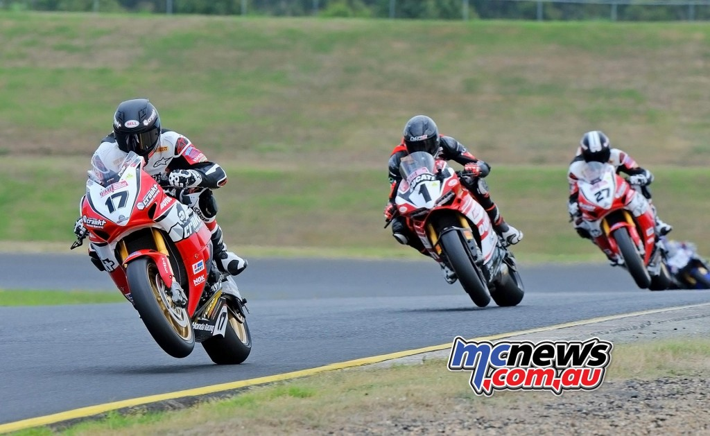 ASBK 2016 - Round Three - Sydney Motorsports Park - Race One - Image by Keith Muir - Troy Herfoss leads Mike Jones and Jamie Stauffer