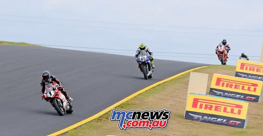 ASBK 2016 - Round Three - Sydney Motorsports Park - Race One - Image by Keith Muir - Mike Jones leads Cru Halliday and Troy Herfoss