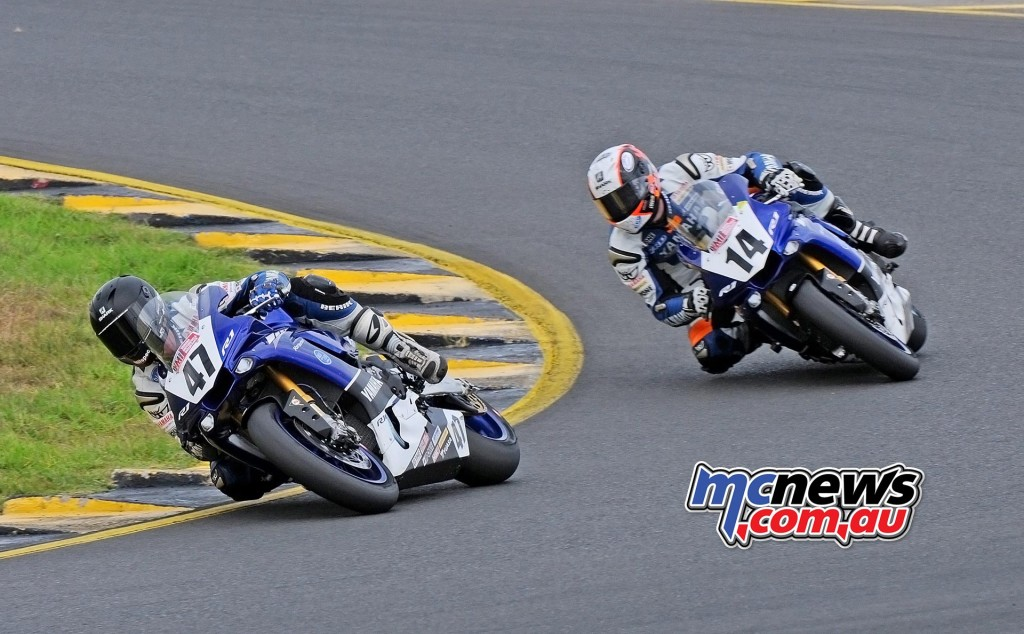 ASBK 2016 - Round Three - Sydney Motorsports Park - Race One - Image by Keith Muir - Wayne Maxwell and Glenn Allerton