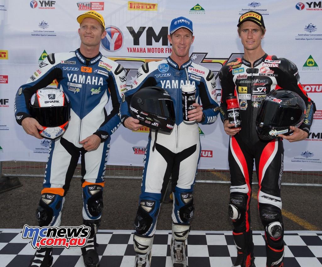 ASBK 2016 - Round Three - Sydney Motorsports Park - Superpole - Wayne Maxwell (1st) - Glenn Allerton (2nd) - Mike Jones (3rd) - Image by TBG