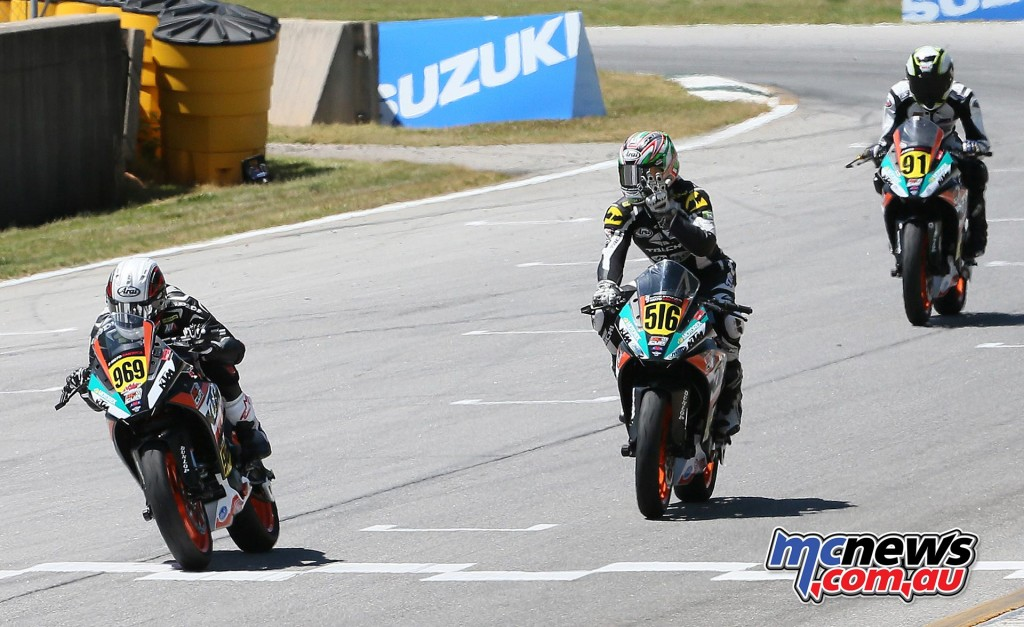 Brandon Paasch (969) beat Anthony Mazziotto III and Brandon Altmeyer (91) to win the second race in the KTM RC Cup Series.