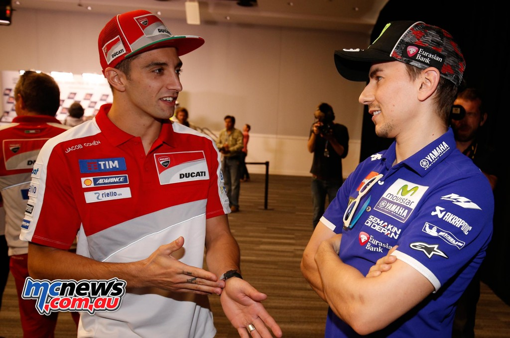 Andrea Iannone and Jorge Lorenzo at COTA