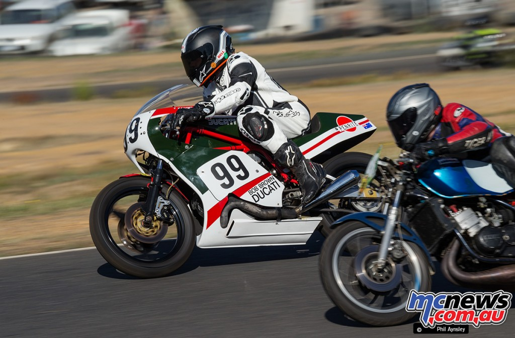 Kevin Magee on the Bob Brown Ducati Pantah