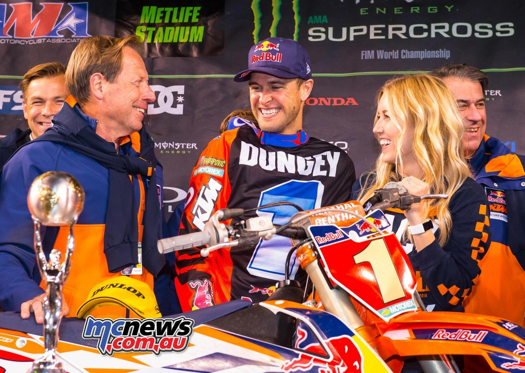 Roger De Coster, Ryan & Lindsay Dungey KTM 450 SX-F Podium East Rutherford 2016
