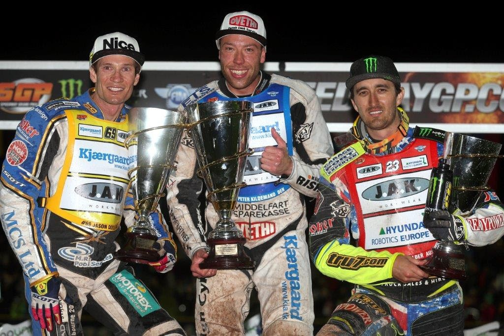 FIM Speedway World Championship 2016 Round One - 1 Peter Kildemand 15, 2 Chris Holder 14, 3 Jason Doyle 13