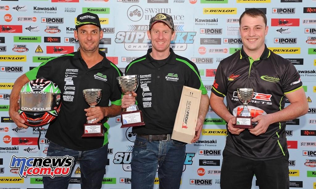 Swann Superbike Championship 2016 - Round Two - Mallala - Sunday Superbike Podium - Ben Burke (1st) - Robbie Bugden (2nd) - Matt Walters (3rd)