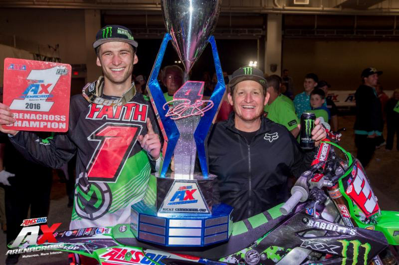 Gavin Faith and Ricky Carmichael at the final round of the 2016 Arenacross Series