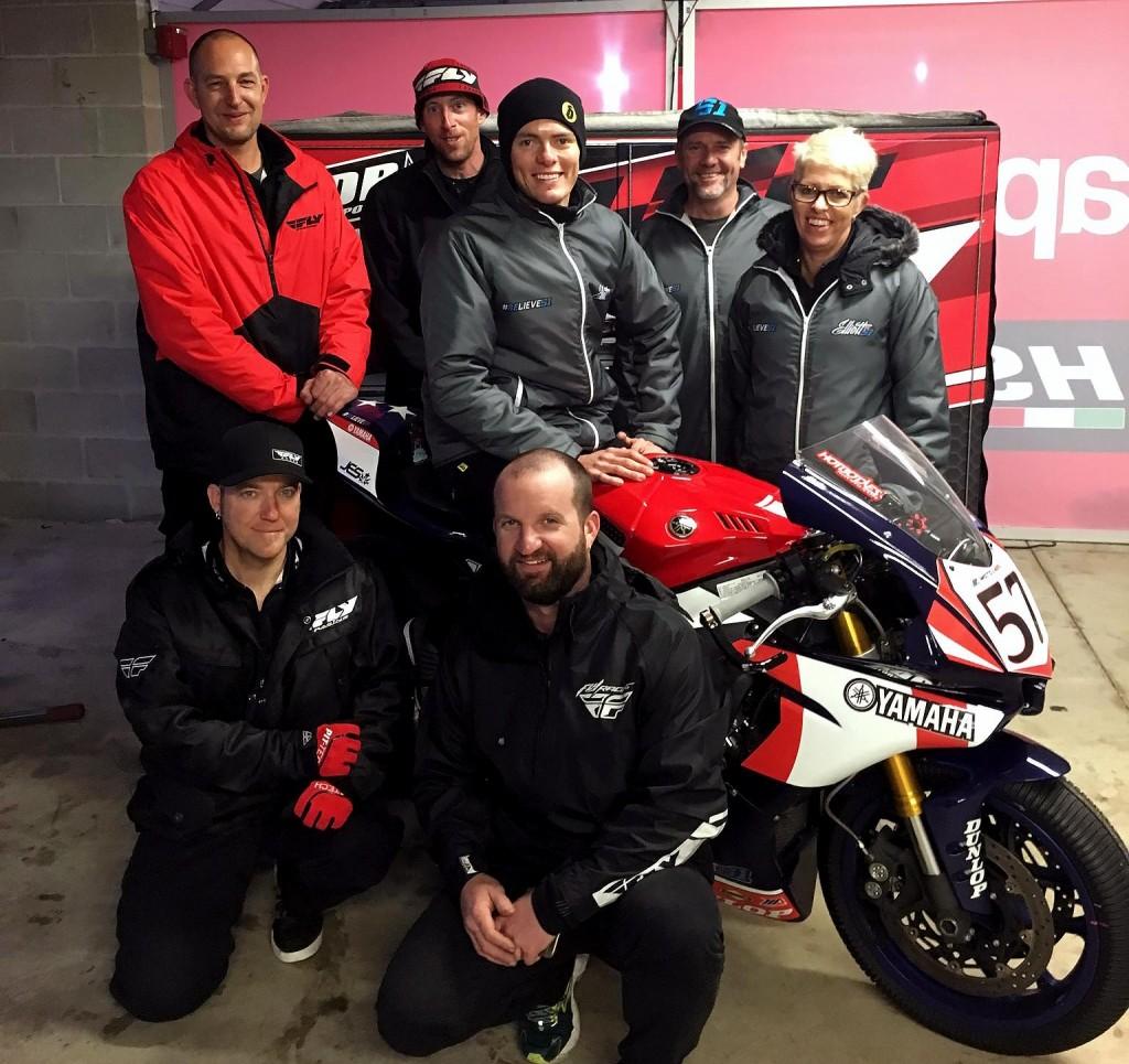 Brayden Elliott with the Aussie Dave Racing / Fly Motorsports crew at New Jersey Motorsports Park