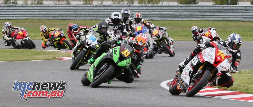 Bryce Prince (74) leads Conner Blevins (33) en route to victory in Superstock 600.