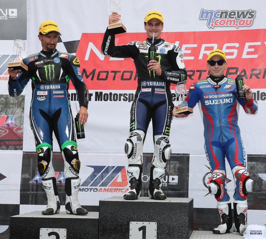 Cameron Beaubier (center) earned his second Superbike pole position of the season today at NJMP. Josh Hayes (left) and Roger Hayden (right) were second and third, respectively. Photography by Brian J. Nelson.