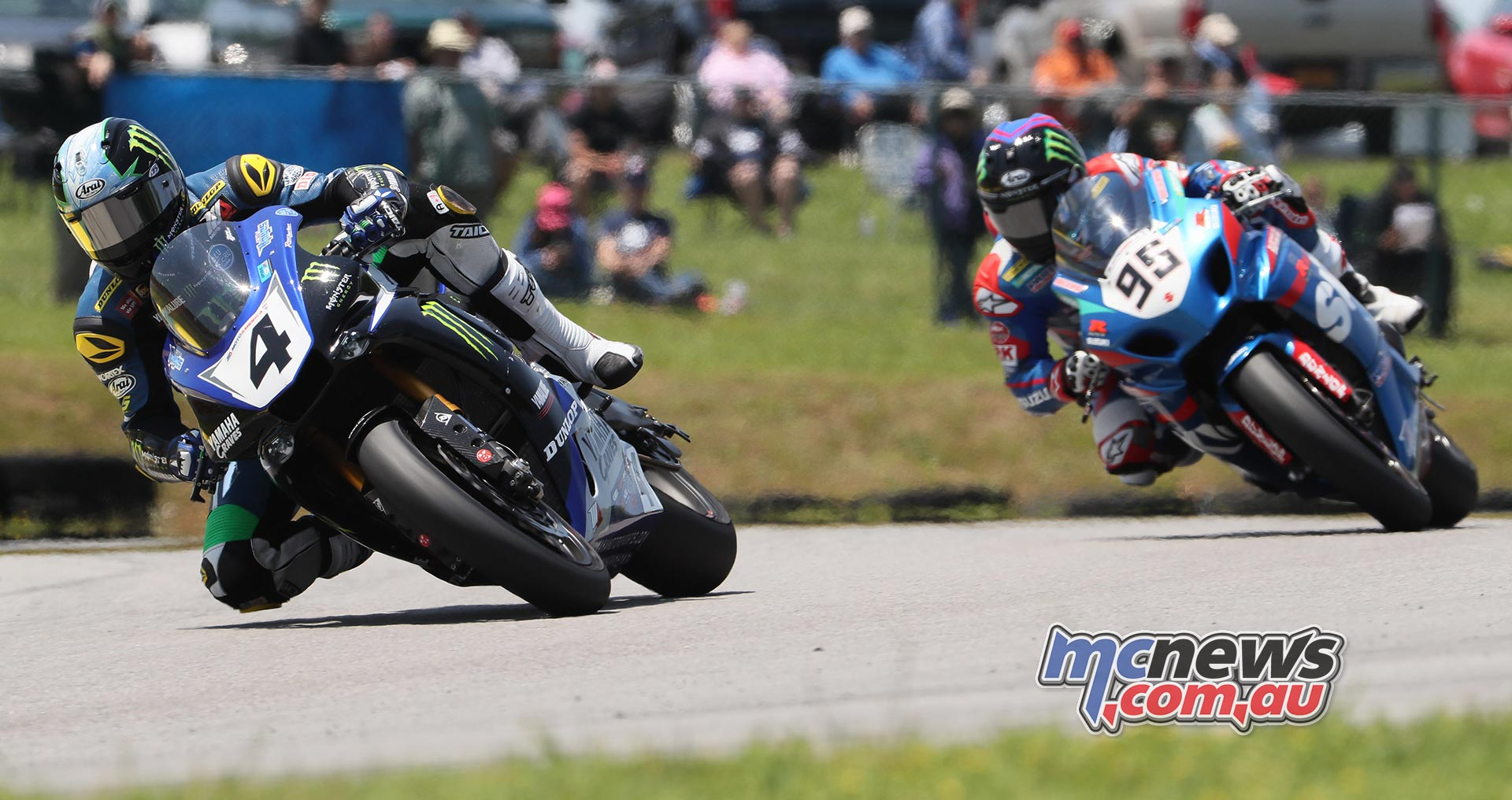Josh Hayes (4) beat Roger Hayden in the first of two MotoAmerica Superbike races at VIR to score his first victory of the 2016 season. Photography by Brian J. Nelson.