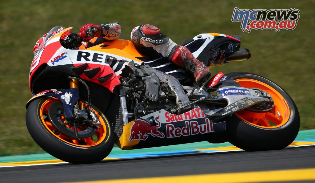 Marc Marquez' RC213V showing some battle damage from its trip through the kitty litter - Image by AJRN