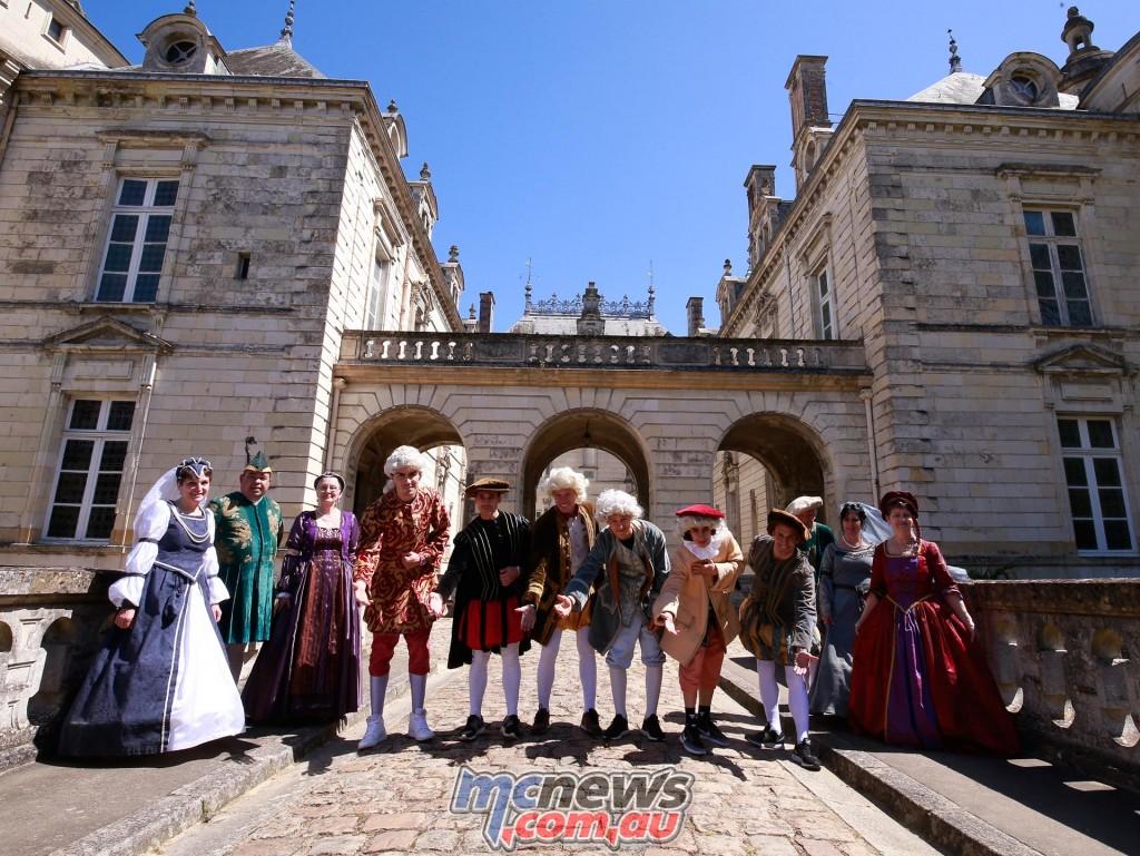 "Loris Baz, Tito Rabat, Johann Zarco, Alexis Masbou, Niccolo Antonelli and Fabio Quartararo take a trip to the historic ""Château de Lude""."