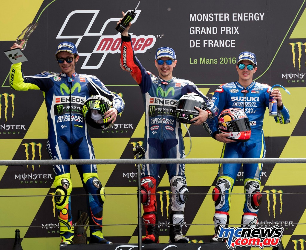 Maverick Vinales' first podium at Le Mans in 2016 alongside victor Jorge Lorenzo and second placed Valentino Rossi