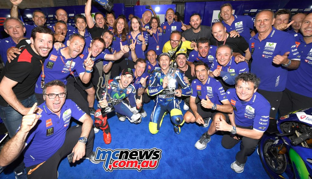 Yamaha celebrate their 1-2 at Le Mans MotoGP 2016