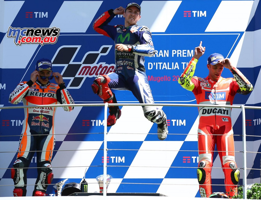 MotoGP 2016 Mugello Podium - Jorge Lorenzo, Marc Marquez and Andrea Iannone