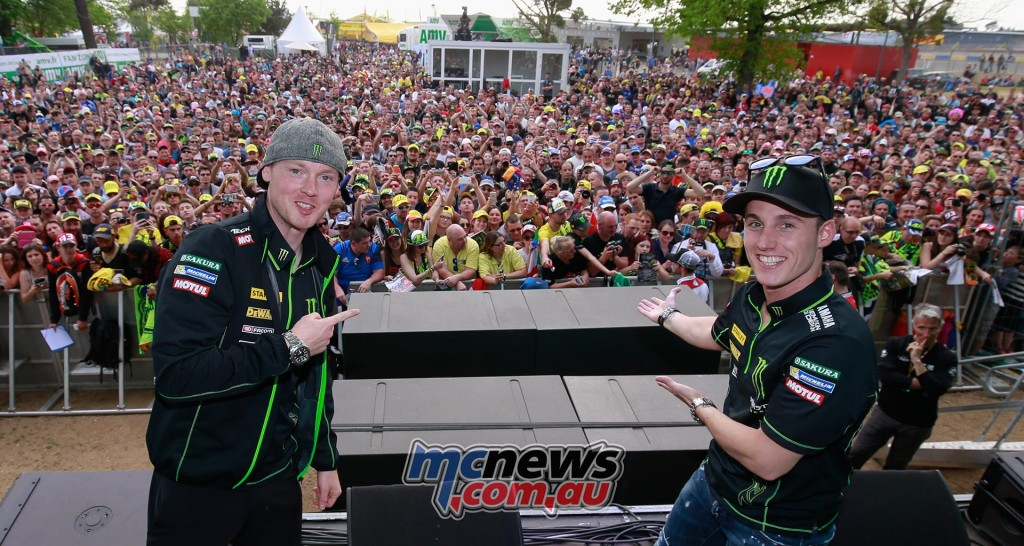 Bradley Smith and Pol Espargaró at the Espace Rencontre