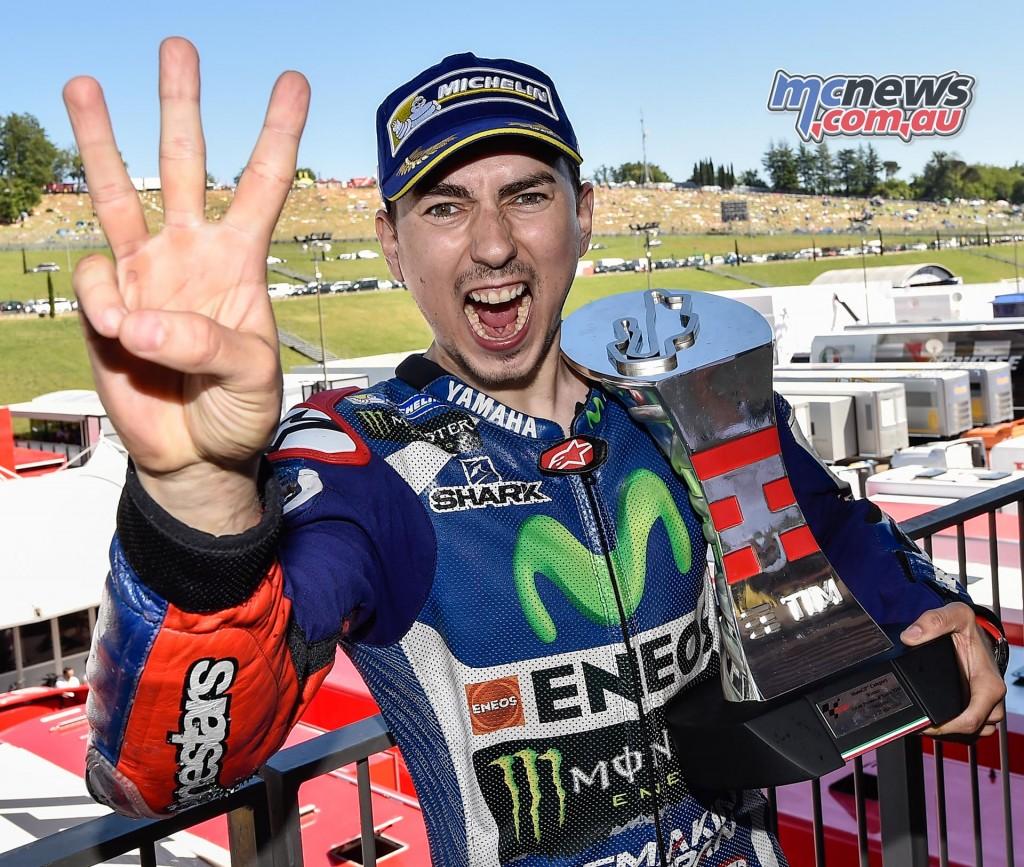 Jorge Lorenzo celebrates Mugello MotoGP victory 2016