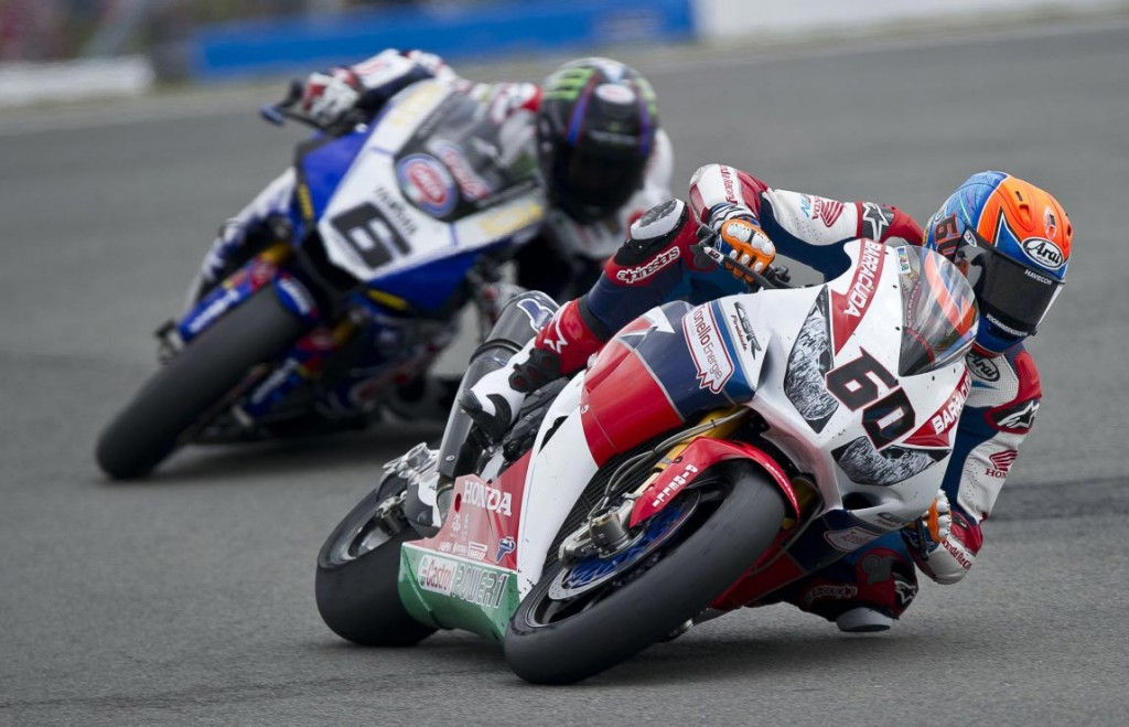 Michael Van Der Mark leads Cameron Beaubier in 2016 at Donington