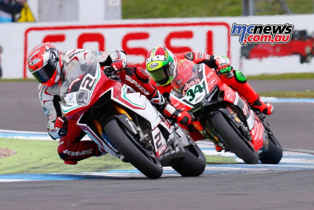 Leon Camier leads Davide Giugliano