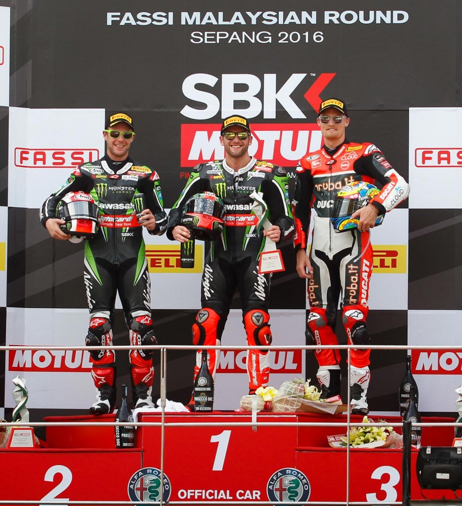 WorldSBK 2016 - Sepang - Race One - Tom Sykes, Jonathan Rea and Chaz Davies - Podium