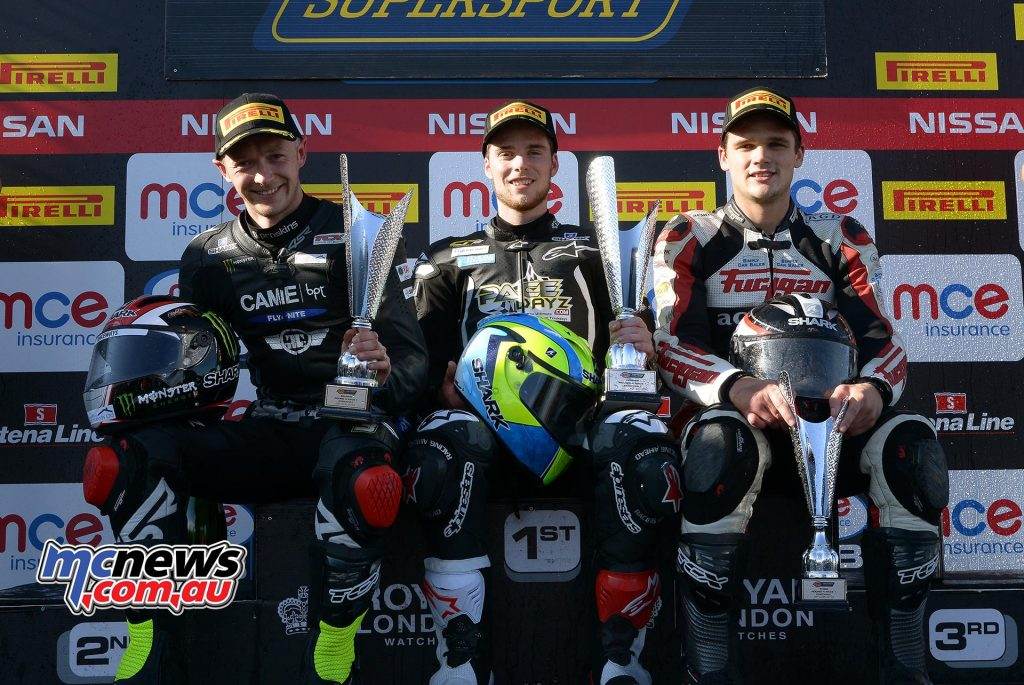 BSB 2016 - Round Four - Knockhill - Race Results - Supersport Race One Podium - Winner Benjamin James-Currie