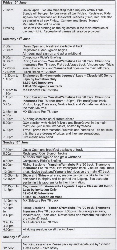 Classic Dirt 2016 Schedule of Events