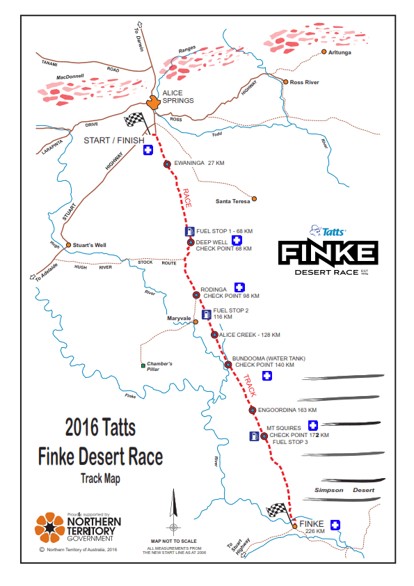 Finke Desert Race Track Map