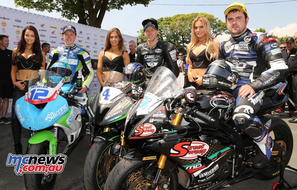IOM TT 2016 - Supersport Race Two Podium - Ian Hutchinson (1st) - Michael Dunlop (2nd) - Dean Harrison (3rd)
