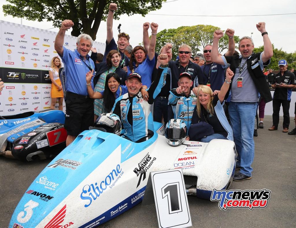 IOM TT 2016 - Sidecar Race One - John Holden and Andy Winkle