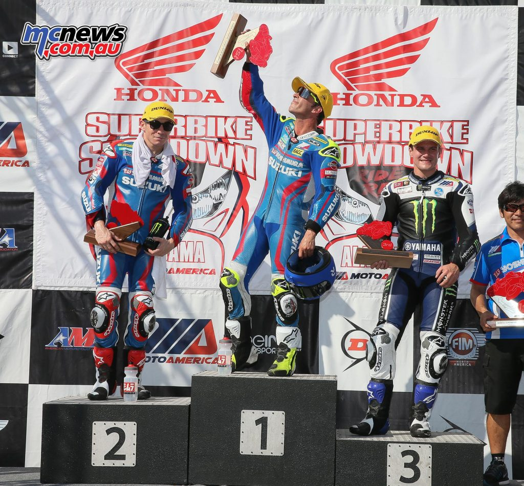 Elias dedicated his victory to Luis Salom, the Spanish Moto2 racer who lost his life last weekend in the Catalunyan Grand Prix. Both Superbike races featured the same riders on the podium: Hayden, Elias and Beaubier.