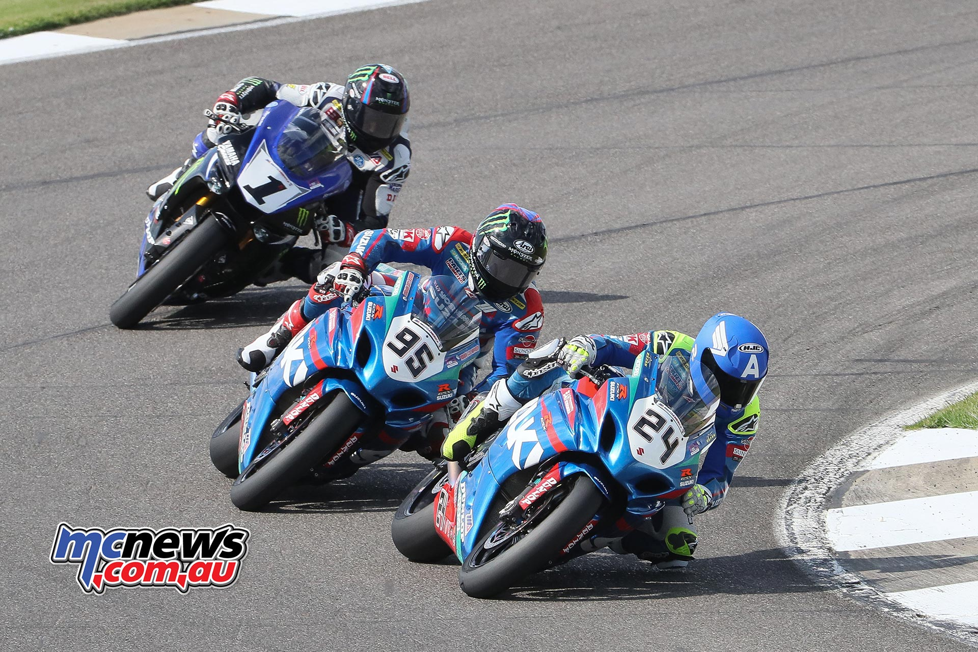 Toni Elias (24) and his Yoshimura Suzuki teammate Roger Hayden (95) split MotoAmerica Superbike wins on Sunday at Barber Motorsports Park. Series points leader Cameron Beaubier (1) finished third in both races. Photography by Brian J. Nelson.