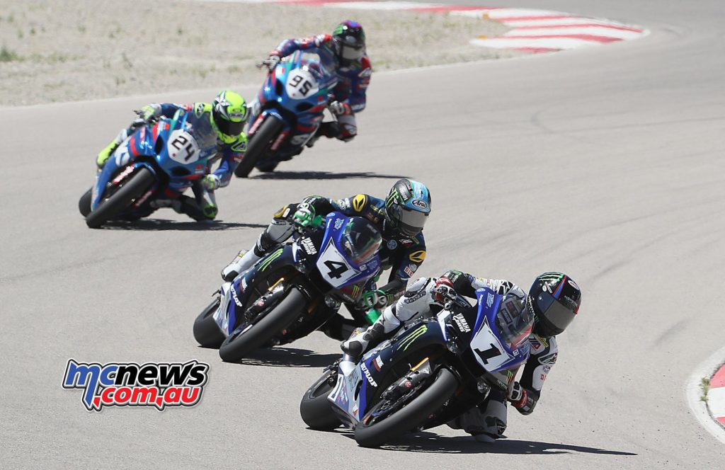 Cameron Beaubier (1) won his seventh race of the season in the first of two Superbike races at Utah Motorsports Campus on Saturday. Beaubier beat teammate Josh Hayes (1) in race one. Photography by Brian J. Nelson.