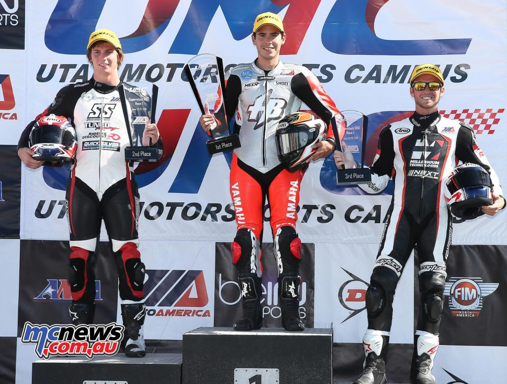 Richie Escalante (center) won his second Superstock 600 race of the season. Bryce Prince (left) was second with Travis Wyman (right) third.