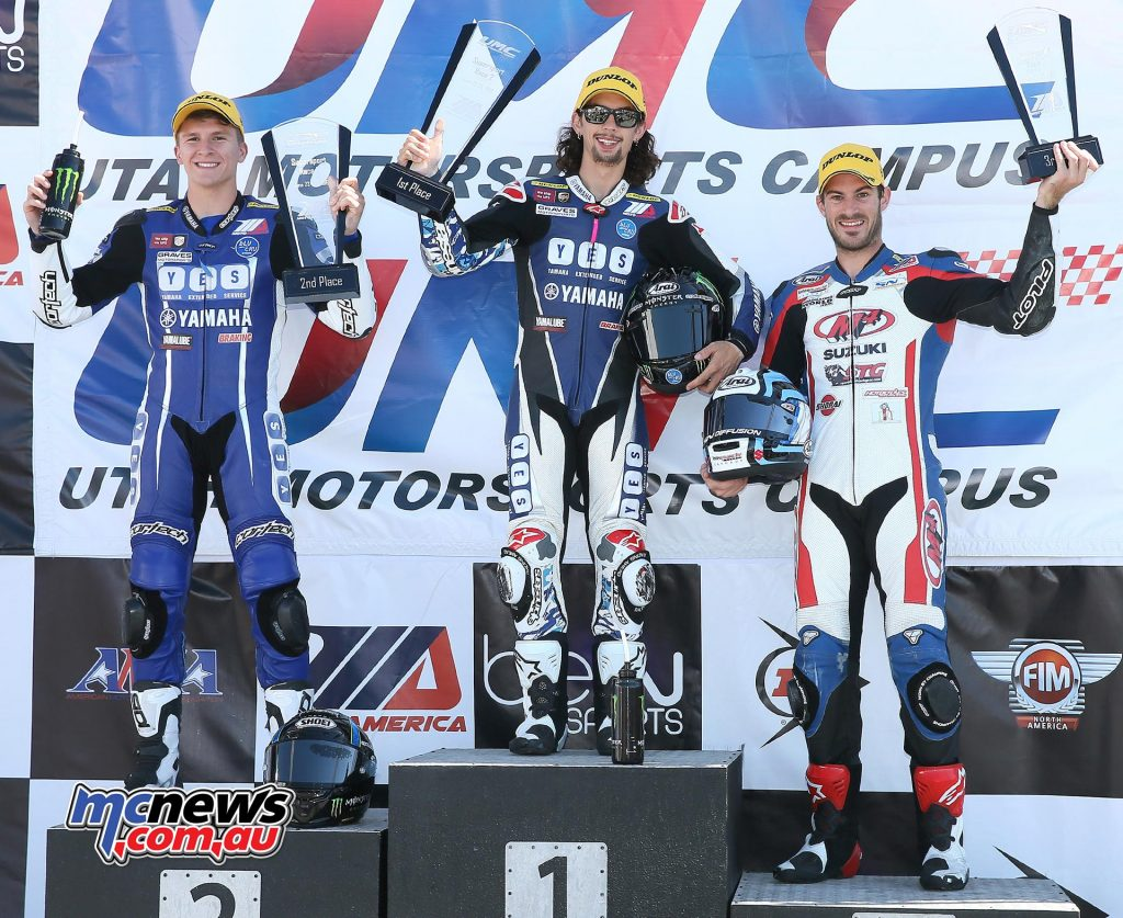 (Left to right) Garrett Gerloff, JD Beach and Valentin Debise celebrate their Supersport success. Beach ended a perfect two-win weekend on Saturday.