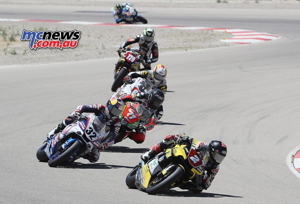 Bazzaz Superstock 1000 series points leader Josh Herrin (2) won his sixth Superstock 1000 race in a row in Utah and seventh of the year.