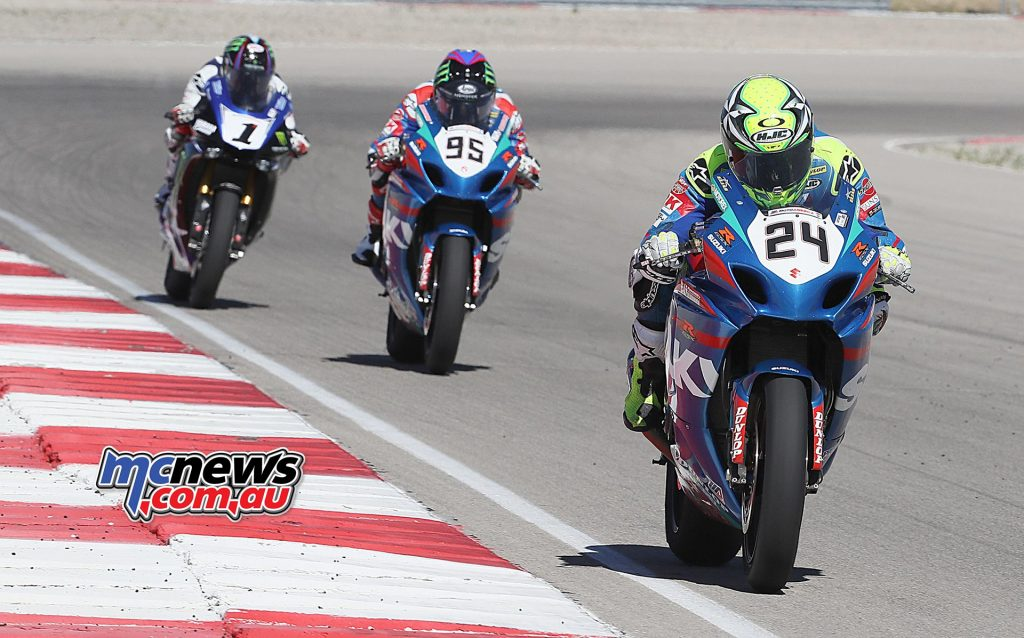 Toni Elias (24) won race two in Utah, besting Beaubier (1) and Roger Hayden (1).