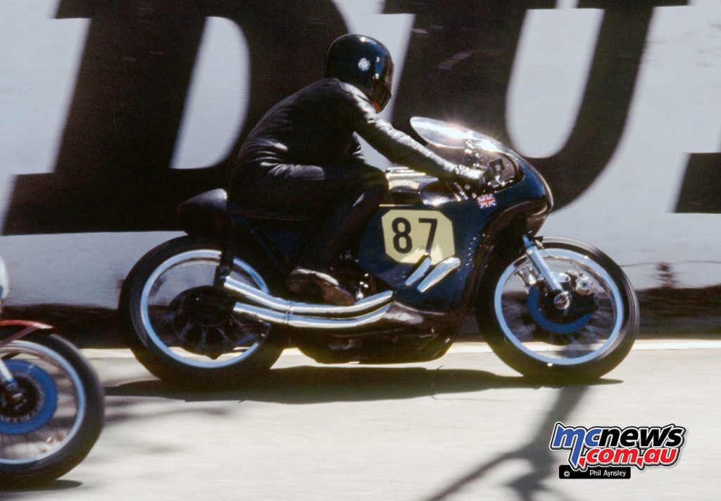 The unmistakable pairing of Eric Debenham on his Vincent 1000.