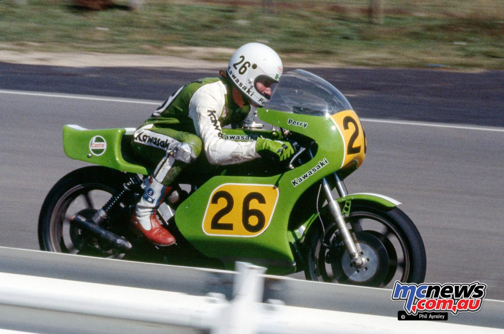 Rick Perry on a Kawasaki H2R 750 at Bathurst in 1978. A scary motorcycle at a scary place! Image by Phil Aynsley