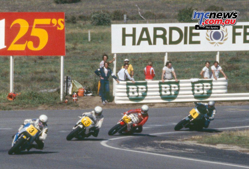Graeme Crosby/Kawasaki Z-1R 1000, Murray Sale/Yamaha TZ750, Rick Walden/Yamaha TZ750, Stu Avant/Suzuki RG500.