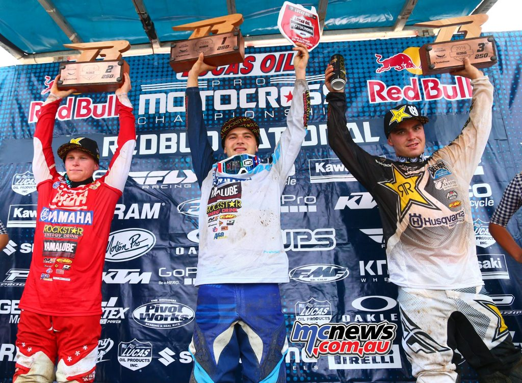 Lucas Oil AMA Pro Motocross 2016 - Round Six - Redbud National 250 Podium