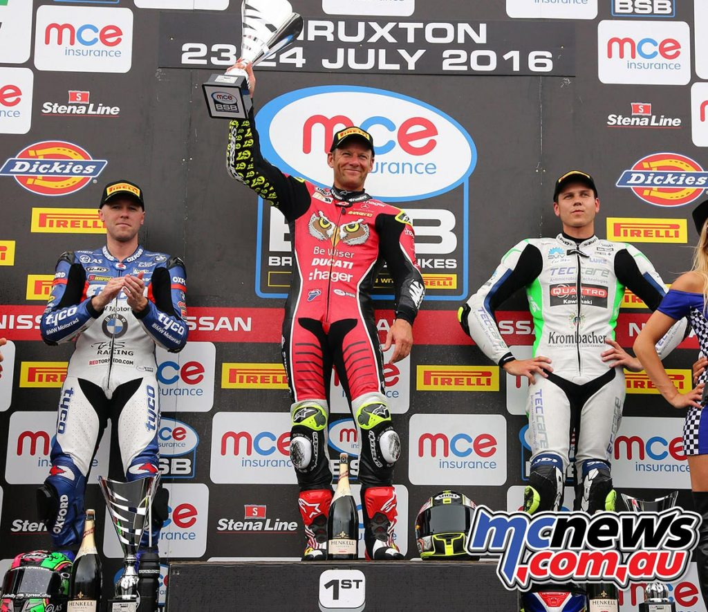 BSB 2016 - Thruxton - Race One Podium - Shane Byrne, Michael Laverty, Luke Mossey