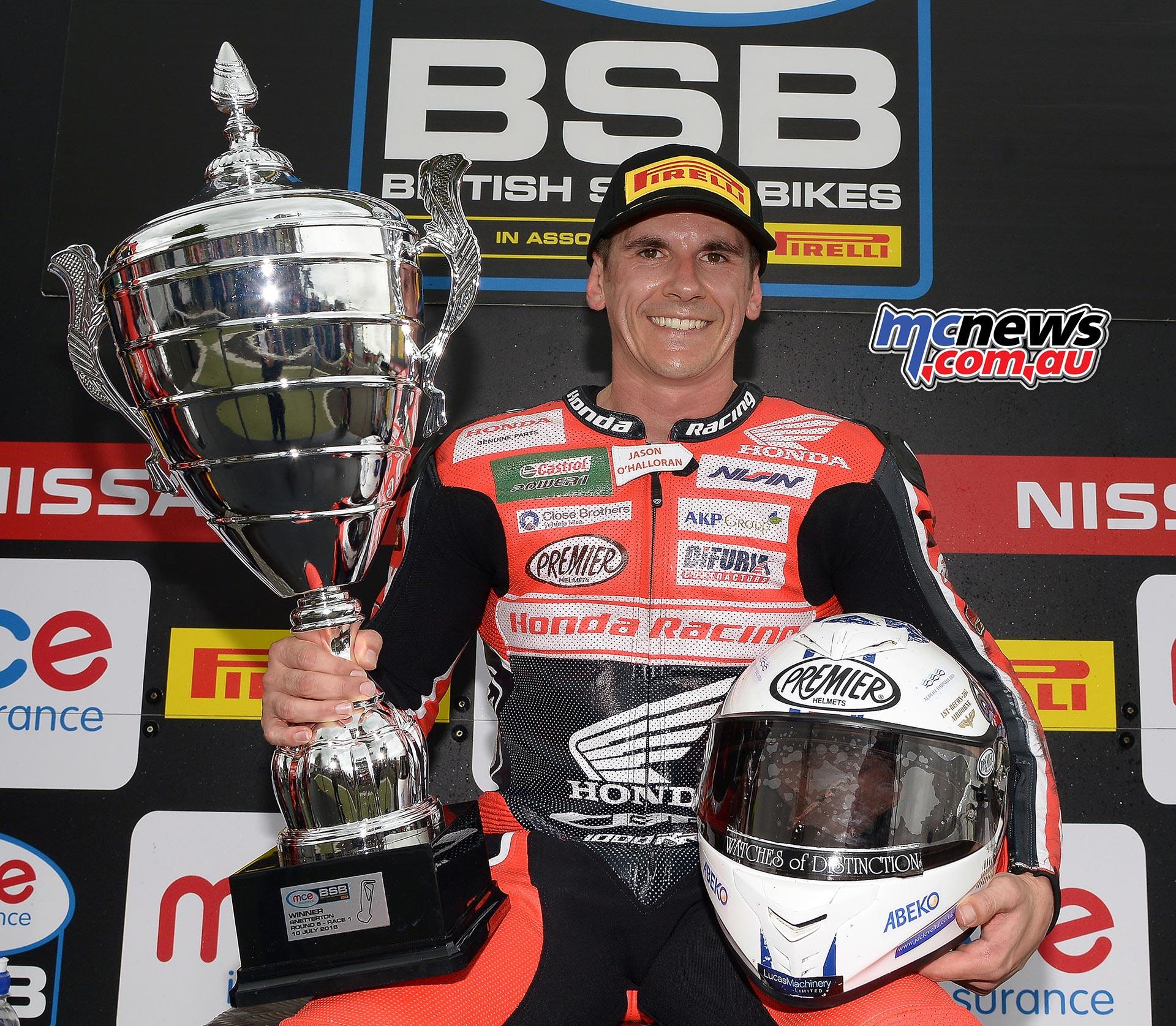 Jason O'Halloran victor in Snetterton Race One BSB 2016 - Image by Jon Jessop