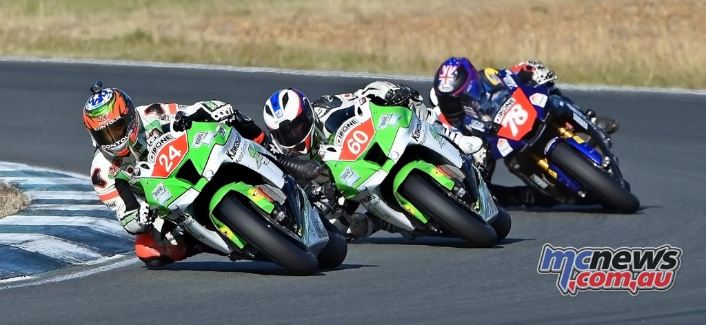 Saturday Ipone Superbike Race Action - Robbie Bugden, Ben Burke and Michael Blair - Image by Keith Muir