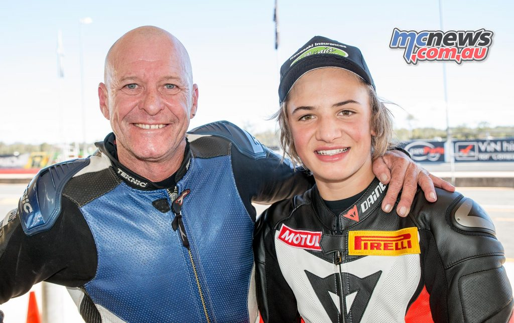 Tom Toparis with Mark Rogers - A Ninja 300 youngster with a Ninja 300 FOB!