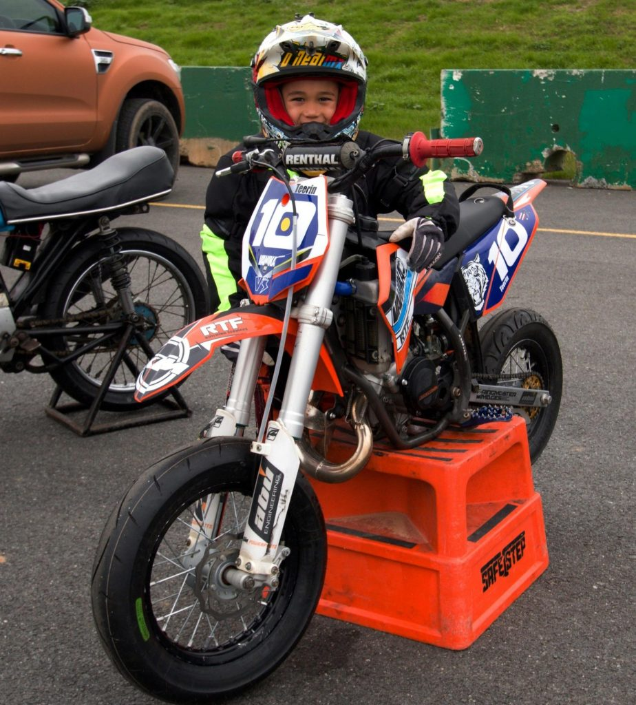 Juniors are able to swap tyres, hire suits and hit the track