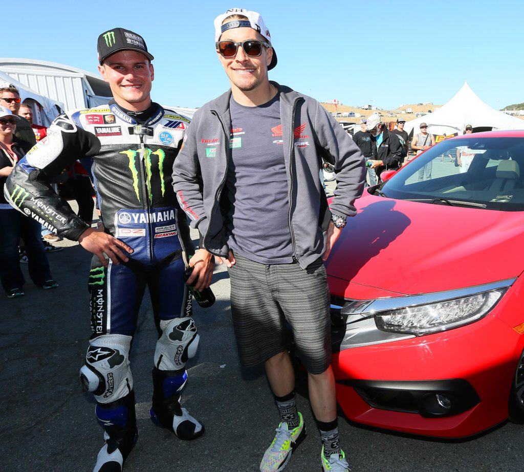 MotoGP Legend and current World Superbike racer Nicky Hayden presented Cameron Beaubier with a 2016 Honda Civic Sedan after Beaubier wrapped up the Honda Superbike Showdown on Sunday in Monterey. Photography by Brian J. Nelson.