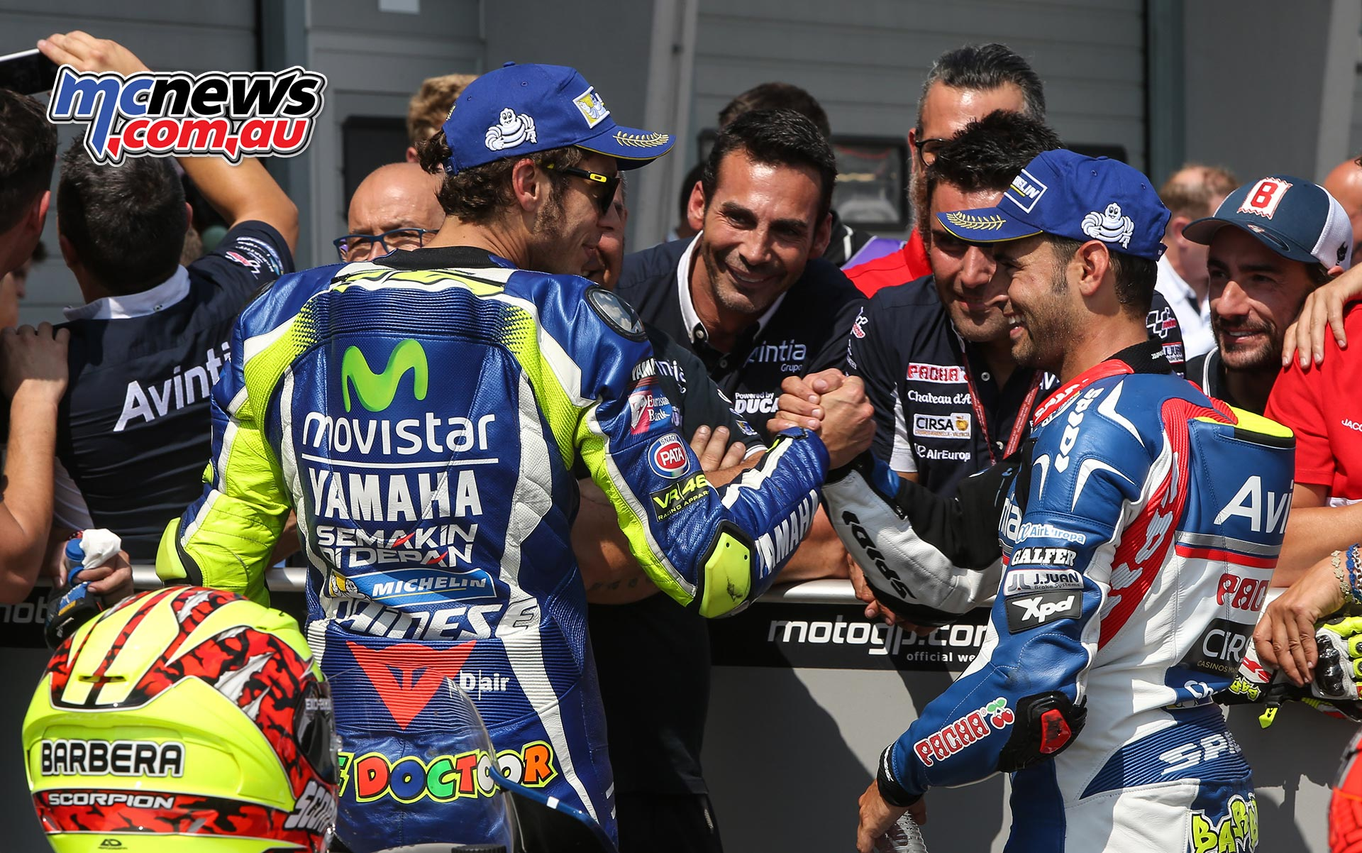 Hector Barbera and Valentino Rossi